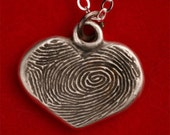 Silver Fingerprint Heart Pendant Charm- Handwriting Jewelry- Double Sided Fingerprint