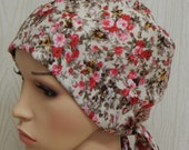 Chemotherapy patients bonnet, chemo head covering, cancer head wear, cancer head scarves, hair loss caps, floral chemo head wraps