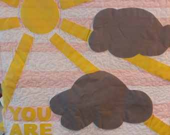 You are my Sunshine Baby Quilt Handmade Pink Yellow Grey