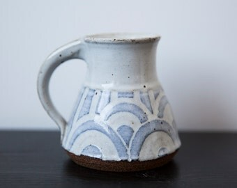 Vintage Handmade Cup Wheel Thrown Blue and White Studio Pottery Pen Pot Pitcher Creamer Mug