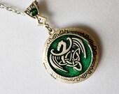 Celtic Dragon Locket, Celtic Locket, Green Dragon Locket, Silver Locket, Silver Cetic Locket