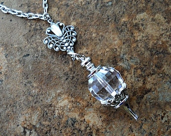 SALE! Mysterious Amulet Swarovski Crystal Ball Necklace, Swarovski Pendant Necklace, Crystal Ball Necklace