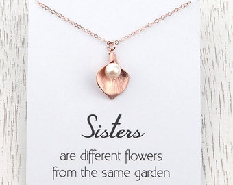 Weekend SALE Rose Gold Sisters Necklace, Flower Calla Lily Initial Necklace, Retirement Gift for Best Friend, Charm Necklace, Bridal Gift,