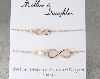 Mother-Daughter Bracelet Set, Rose Gold Infinity Bracelet, Bridal Wedding Gift, Gift for Her Birthday, Gift from Daughter
