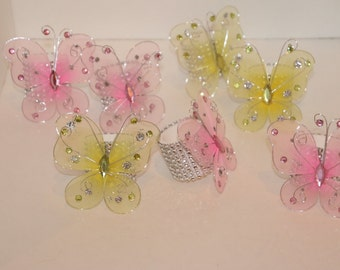 Butterfly Napkin Rings Set of 8 Pink and Yellow