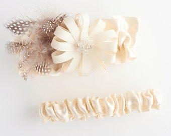 Garter Set, Wedding Garter Set, Bridal Garter Set, Feathered Garter Set, Feather Wedding Garter Set - Splendid Garter Set by The Garter Girl