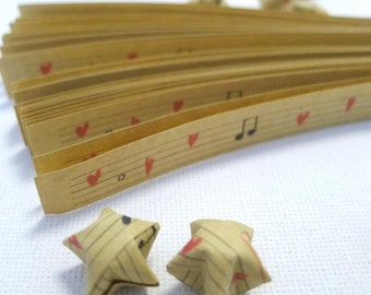 Music Manuscript - Song of Love - Kraft Origami Lucky Star strips (60 strips)