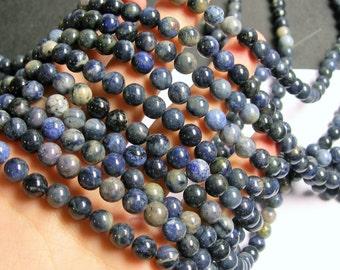 Dumortierite - 8 mm round beads -1 full strand - 50 beads - RFG501