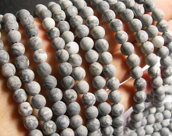 Picasso Jasper matte - 8mm round  -  48 beads - full strand strand - AA quality - matte - RFG550