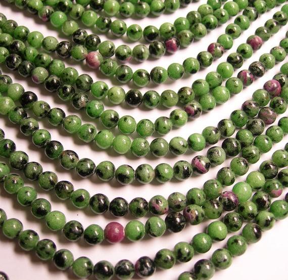 Ruby Zoisite - 6mm round beads -1 full strand - 65 beads  - RFG45