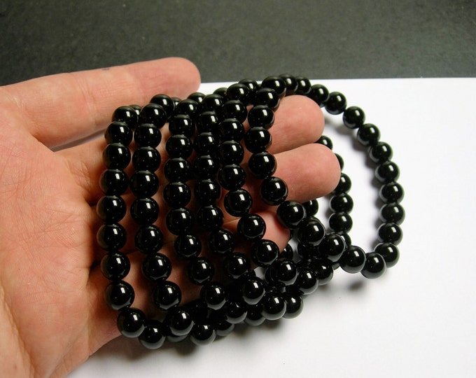 Black onyx - 8mm round beads - 23 beads - 1 set - A quality - HSG12