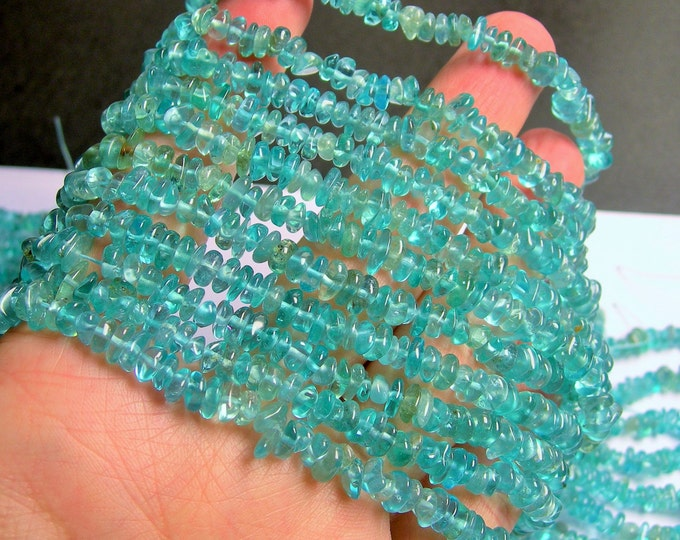 Apatite gemstone rondelle pebble chip stone -  AA quality - 16 inch strand  - PSC255
