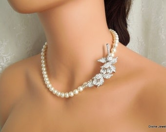 bridal pearl necklace, pearl necklace, Wedding Rhinestone necklace, swarovski crystal and pearl necklace, Statement necklace, VICTORIA