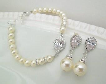 Bridal Jewelry Set, Pearl Bridal Earrings, Wedding Bracelet, Swarovski Pearl Earrings, Swarovski Pearl, Bridal Jewelry, Jewelry set, AUDREY