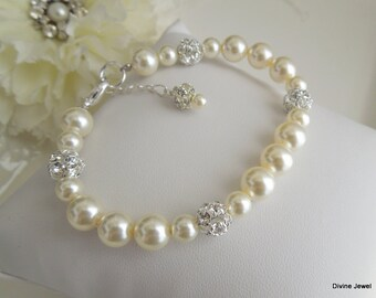Pearl Bridal Bracelet,Ivory or White Pearls,Bridal Rhinestone Bracelet,Bridal Pearl Bracelet, Cuff,Pearl Rhinestone Bracelet,Pearl,CLAIRE