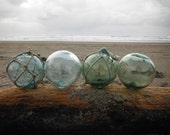 Japanese Glass Fishing Floats - Set of 4, Baseball Size
