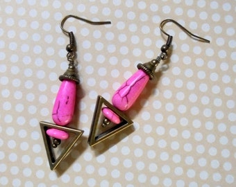Pink and Brass Earrings (2586)