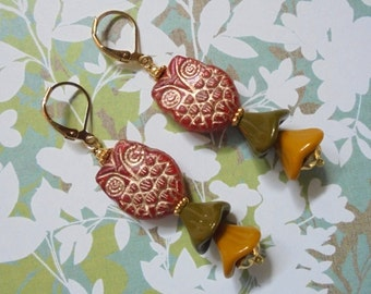 Burnt Orange, Mustard Yellow and Olive Green Owl Earrings (2952)