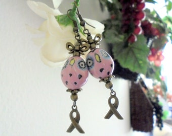 Pink Owl Breast Cancer Awareness Earrings (3092)