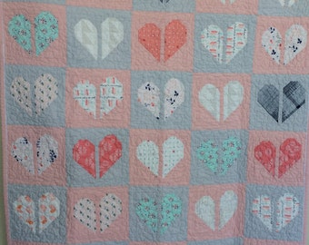 Baby Girl Crib Quilt, Sweet Baby Heart, New Baby Crib Quilt by Dreamy Vintage Sheets