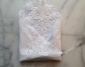 Vintage Lace Edged Wedding Hanky 'Something Old'