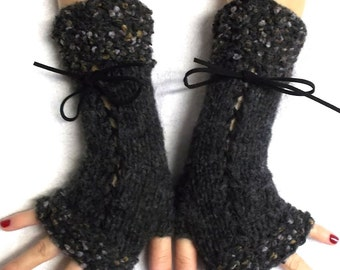Charcoal Grey Fingerless Gloves Corset Wrist Warmers for Women with Suede Ribbons Victorian Style