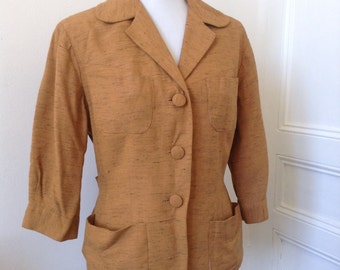 40s French Vtg caramel wool jacket 3/4 sleeves