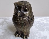 Vintage Brass Owl Statue Incense Holder Burner, Metal Bird Paperweight, Bohemian Woodlands