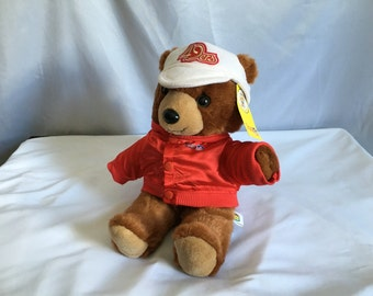 Vintage San Francisco 49ers Football Coach Teddy Bear with Letterman's Jacket and Ball Cap by Team NFL™ 1991©