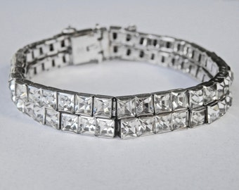 Rhinestone Bracelet, WH Sterling, Bridal Bracelet, Wedding Jewelry, 1940s, Greek Key Bracelet