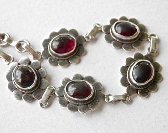Vintage Garnet Bracelet, Sterling Silver Links, Chain Bracelet, Victorian Revival, January Birthstone