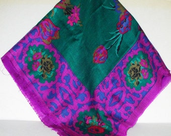 Vintage Challis Scarf Magenta Green Floral Tulip Fringed Hem Retro Fashion Head Scarf Neck Purse Kerchief Scarf Accessory