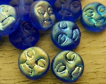 Moon Faced Beads 9mm Czech Glass Iridescent Cerulean Ulramarine Blue