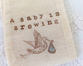 Boy Stork Baby Shower Favor Bags Baby is Brewing Set of 10