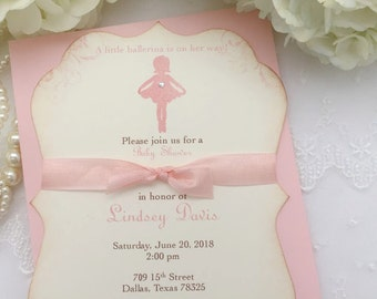 Pink Ballerina Invitations Ballerina Birthday Baby Shower Invite Printed Set of 10
