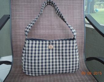 Black and Tan Checked Bag / Homespun Fabric Bag / Single Strap Bag