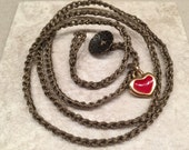 HEART charm on a Four times wrap crocheted bracelet Valentine's Day Feminine and fabulous Mother's Day Gift for her