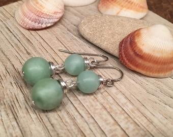 Seafoam green dangle beaded earrings glass simulated Amozonite summer fresh fun woman wear