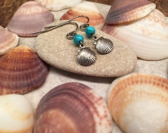Dainty Shell earrings beach jewelry turquoise colored bead summer fun