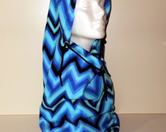 Blue Chevron Print Adult Fleece Balaclava Hat - Ski Mask - For Men Or Women - Adventure Hat - Winter Hat - Gift For Her - Gift For Him