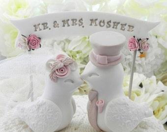 Wedding Cake Topper Love Birds, White, Dusty Pink and Beige/Tan, Custom Banner - Bride and Groom Keepsake