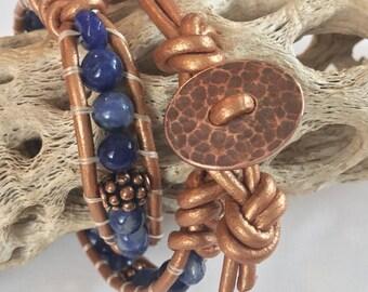 Copper & Blue Lapis Double Wrap Leather Bracelet