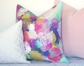 Watercolor Bursts Decorative Pillow Cover - Blush - Pink - Yellow - Green - Designer Pillow - Linen Pillow - Floral Pillow - Watercolor