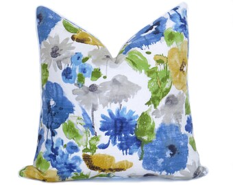 Watercolor Flower Pillow Cover - Blue - Yellow - Green - Designer Pillow - Linen Pillow - Floral Pillow - Blue Pillow - Watercolor -