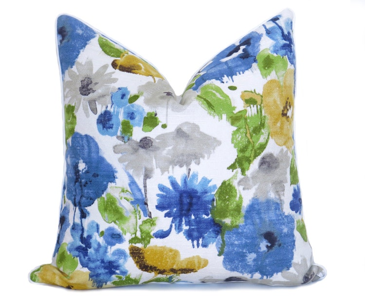 Watercolor Flower Pillow Cover Blue Yellow By WillaSkyeHome
