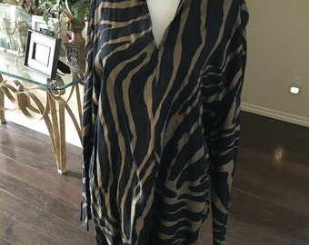 Vintage Norman kamali tiger stripe dress / Norma Kamali Tunic Dress size s m