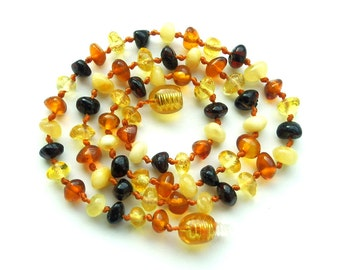 "15.5"" Natural Baltic Amber necklace, unpolished beads, mixed color amber necklace"
