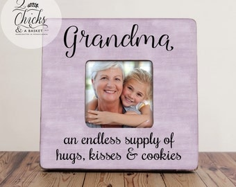 Grandma Picture Frame, Custom Grandparent Picture Frame, Grandma And Endless Supply Of Hugs Kisses And Cookies