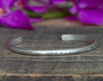 Textured Rustic Sterling Silver Cuff Bracelet Bohemian Bracelet Boho Chic Sterling Silver Bracelet Gift for Her Under 100