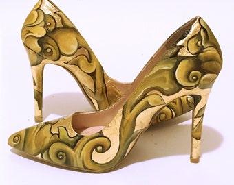 24K Gold Painted Heels